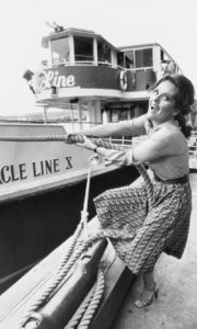 "Actress Dawn Wells, who is best known for playing Mary Ann on ""Gilligan's Island,"" on the Circle Line pier"